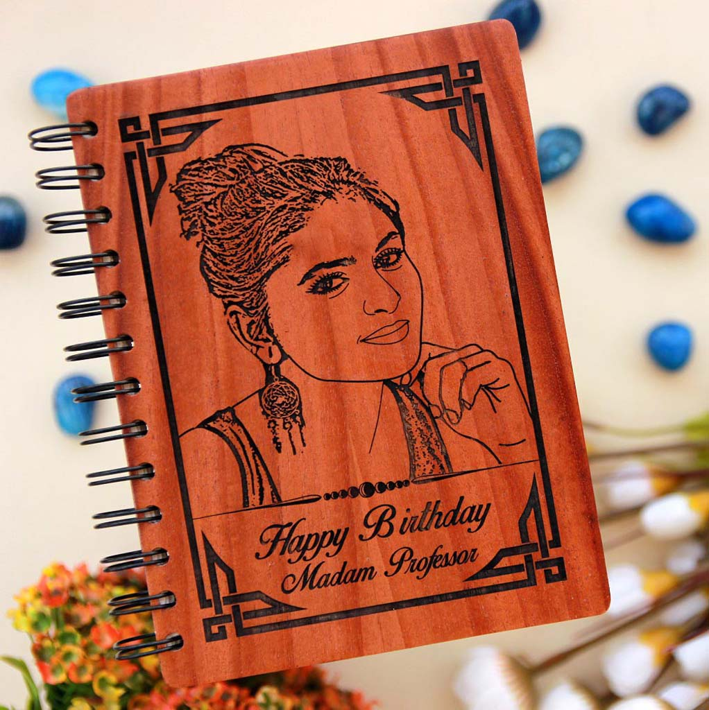 This Wood Engraved Photo On A personalised Notebook with A Birthday Message Is best gift for teacher from student. Looking for best teacher gifts? This Photo On Wood Engraved On A Spiral Notebook Is A Great Teacher Appreciation Gifts.