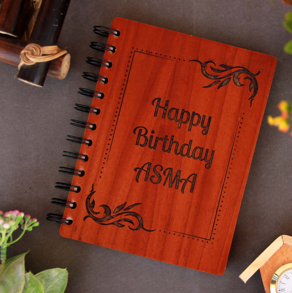 Personalised Diary Notebook Engraved With Birthday Wishes This is the best birthday gifts for wife and birthday gift for girlfriend. These wooden notebooks make unique birthday gifts for her and birthday gifts for women.