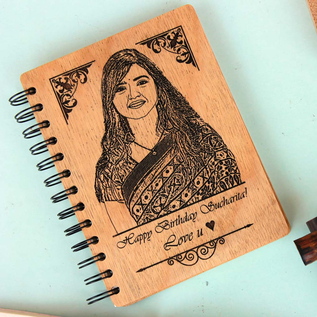 Personalised Diary Notebook Engraved With Birthday Wishes. This photo on woodis the best birthday gifts for wife and birthday gift for girlfriend. These wooden notebooks make unique birthday gifts for her and birthday gifts for women.