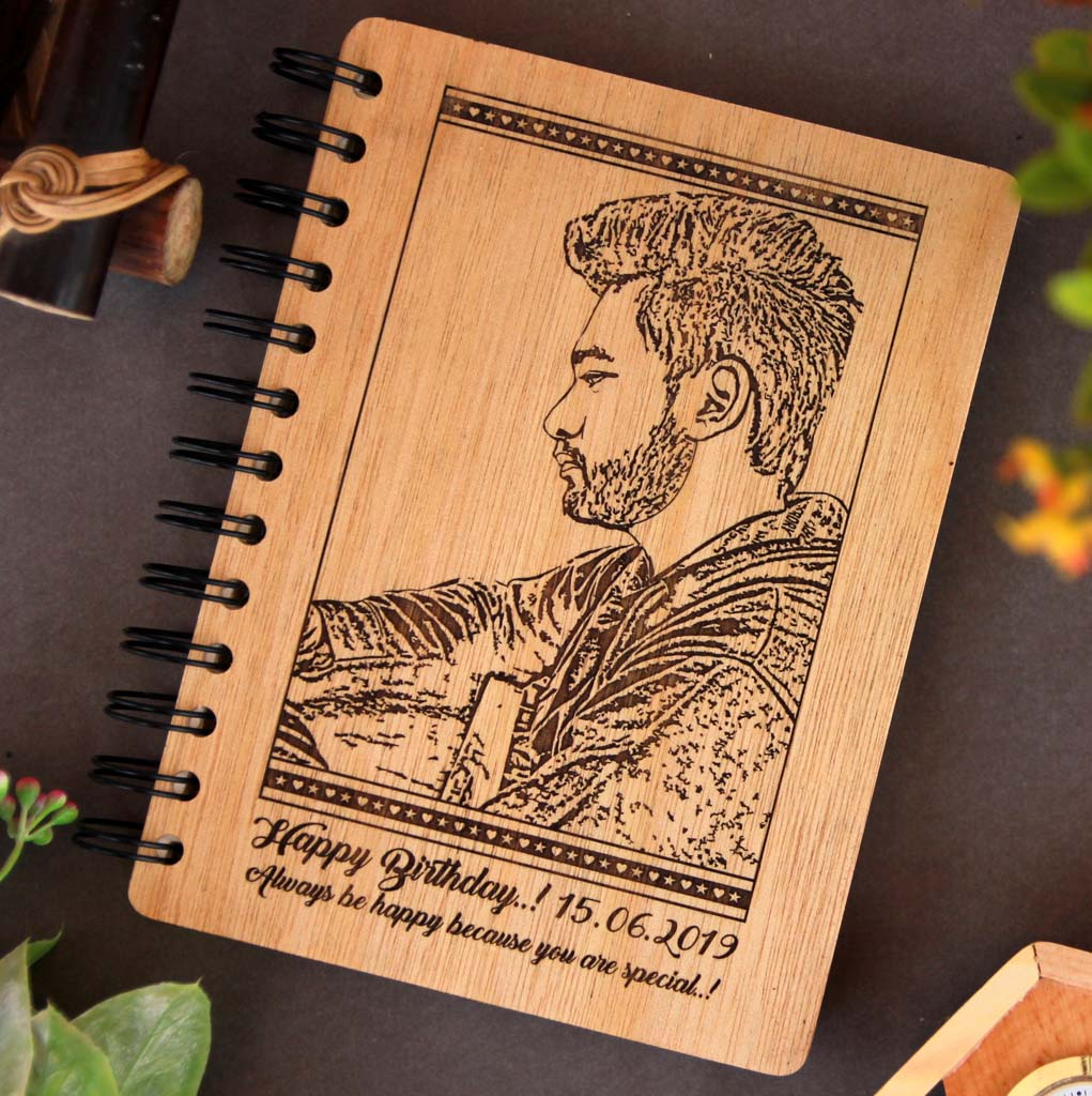 This Wood Engraved Photo On A Spiral Notebook with A Birthday Message Is The Best Birthday Gift For Brother. Looking for gifts for brother? This Photo On Wood Engraved On This Wooden Diary Notebook Is A Great Photo Gift.