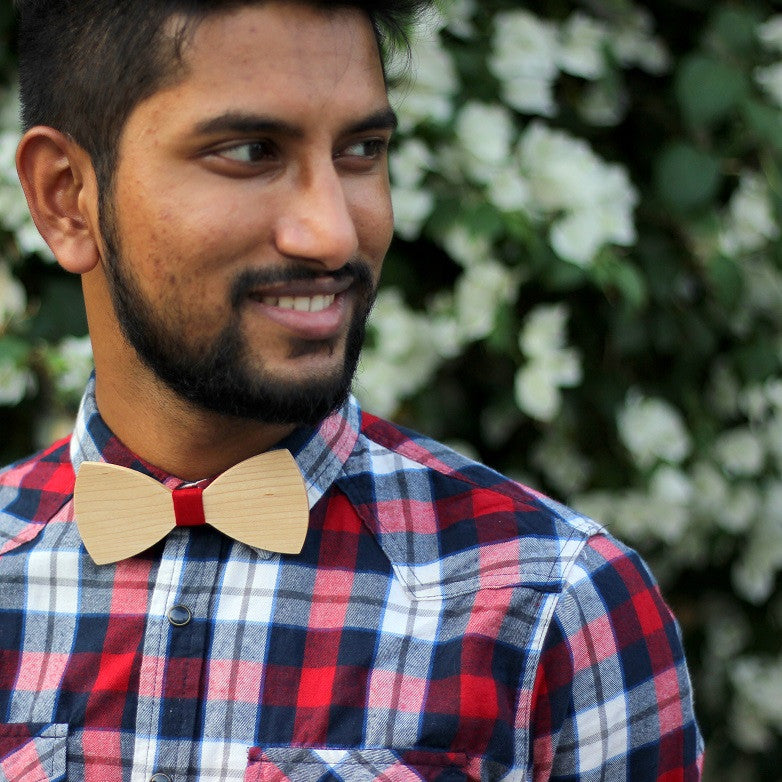 Birch Wood Bowtie customized with name or initials or any text - Woodgeek Store