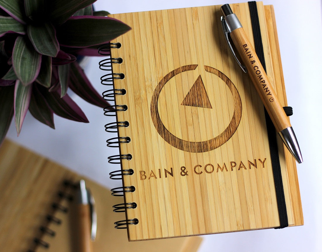 Corporate Gifts With Company Logo for Bain & Company - Logo Engraved Wooden Notebooks for a global management consultancy firm