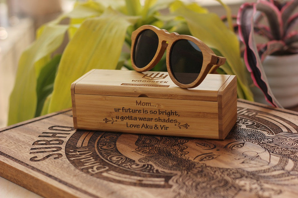 The Retro Brown Bamboo Sunglass - These Wooden Eyewear personalized with your mother's initials make the best mother's day gifts - Buy her more unique and personalized gift items from the Woodgeek Store