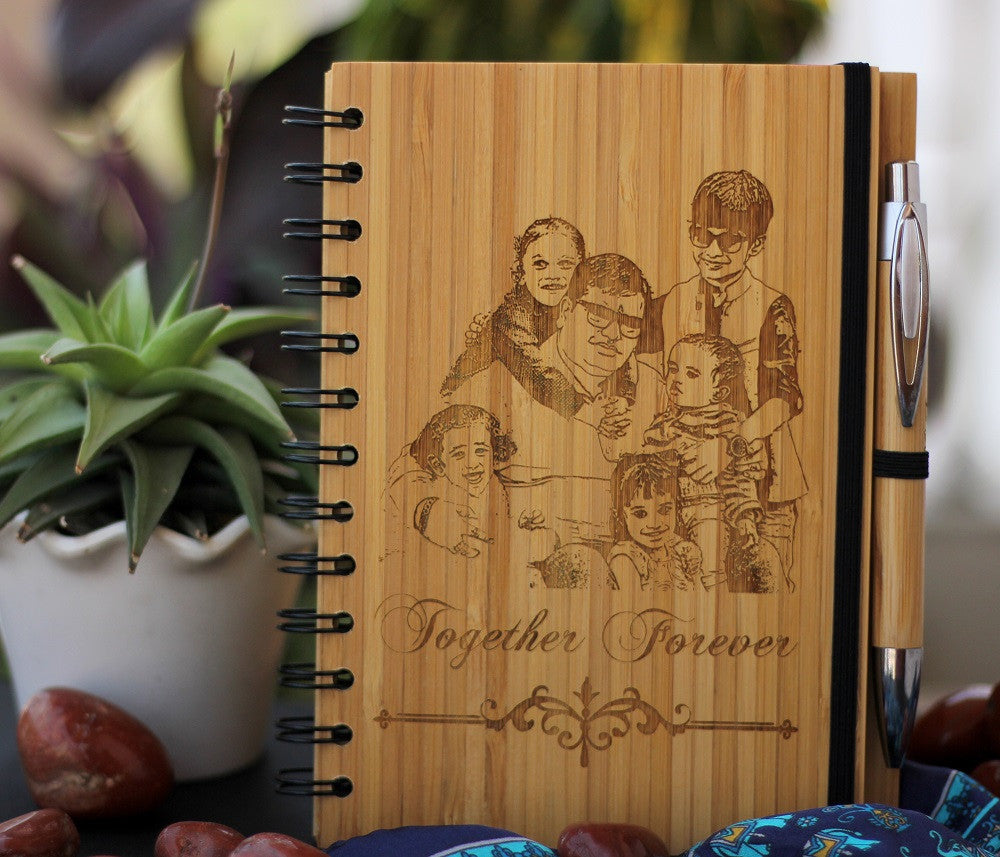 Best Photo Gifts - A Wooden Notebook Engraved With Family Picture - Best Father's day Gift - Woodgeek Store
