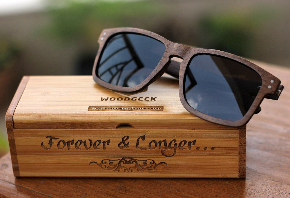 Personalized Wooden Sunglasses Customized with a special message for dad - Polarized Sunglasses - Unique Father's Day Gifts - Woodgeek Store