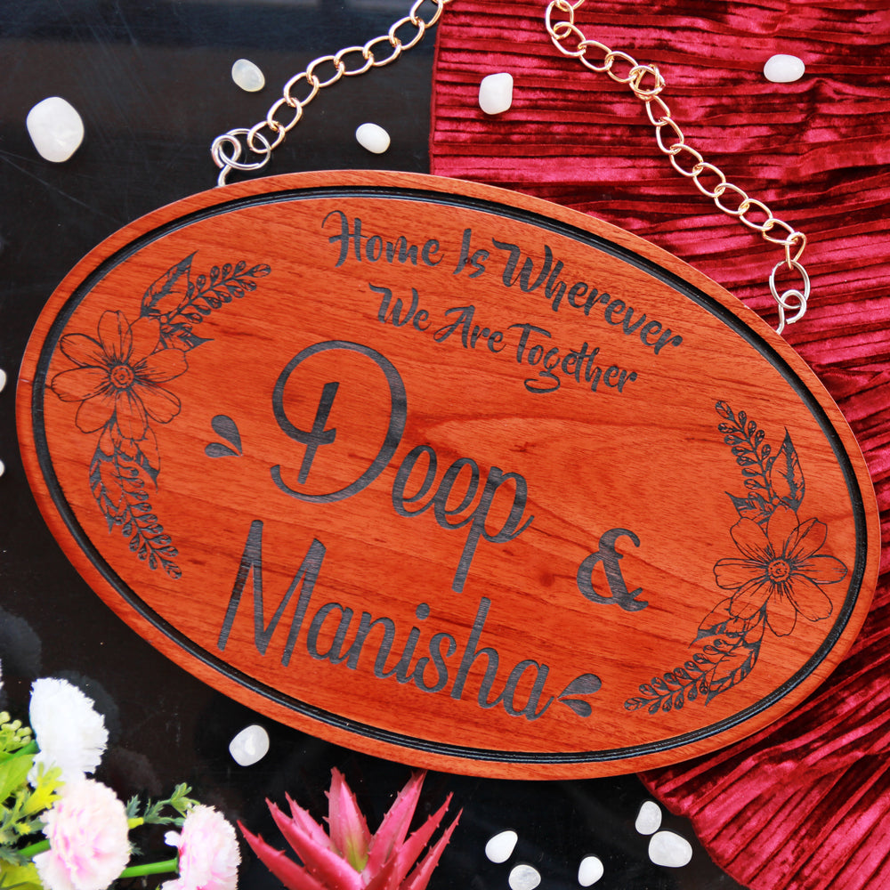 Customized Wooden Hanging Signs - Wood Carved Name Signs For Couples - Hanging Name Plates - Custom Engraved Wooden Gifts - Personalized Gift Items - Best Valentine's Day Gifts -  Wood Wood Store - Woodgeek - Woodgeekstore