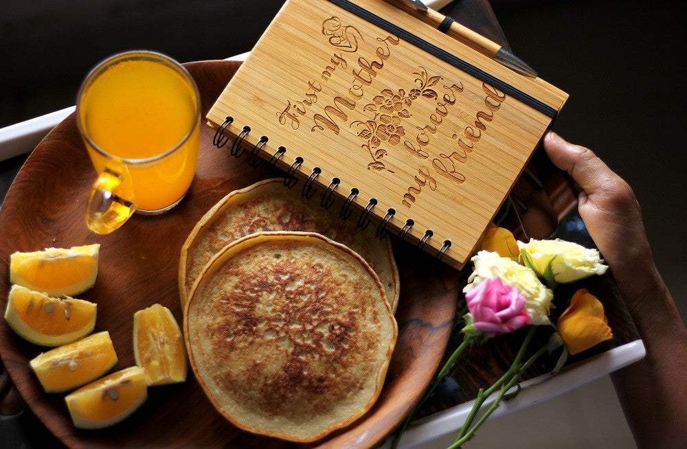 Mother's Day Gifts - Surprise your mother with breakfast and personalized wooden notebook - Woodgeek Store