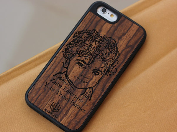 Personalized photo engraved wooden iPhone case - Woodgeek Store