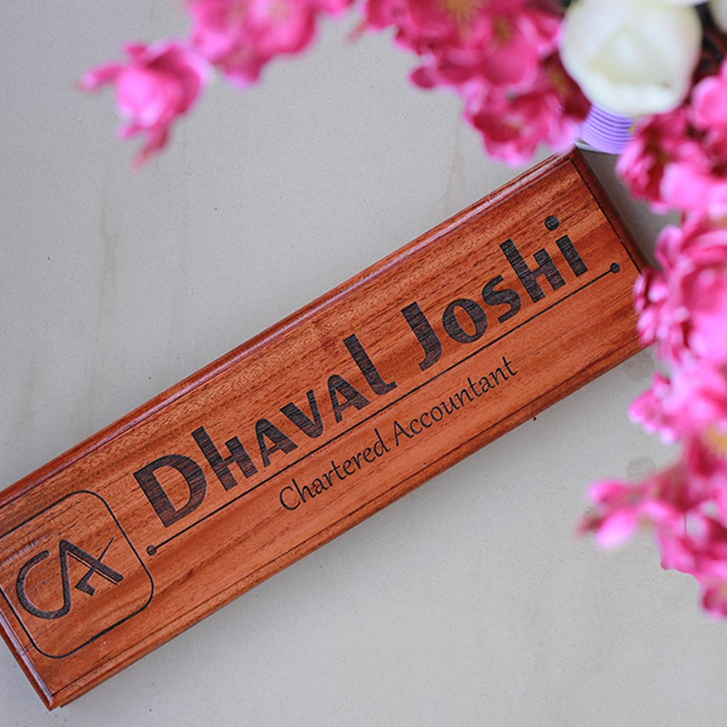 Personalized Wooden Nameplates For Chartered Accountants - Personalized Wooden Nameplates For Lawyers - This wooden desk name plate makes a great office desk accessory - Looking for gift ideas for accountants ? This logo engraved nameplate makes the best affordable gift for chartered accountants