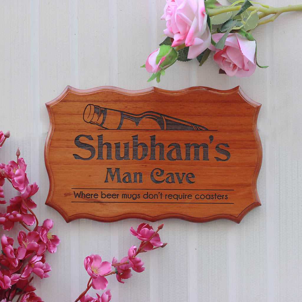 Custom Man Cave Sign for Boy's Room - Personalized Wooden Sign for Rooms by Woodgeek Store