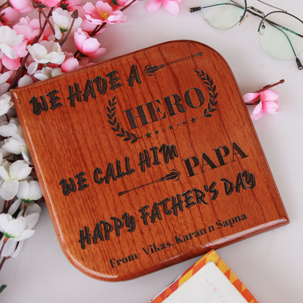 Customized Square Wooden Award Plaque - Wish Your Dad A Very Happy Father's Day With This Unique Customized Gifts For Father - Buy More Affordable Gifts For Father From The Woodgeek Store