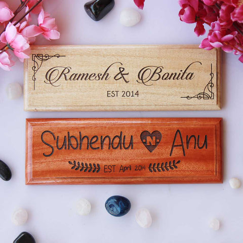 Personalized Wooden Nameplates For Couples. These Desk Signs Make The Best Romantic Gifts For Anniversary. Shop More Wooden Desk Signs For Your 5th Wedding Anniversary From The Woodgeek Store.
