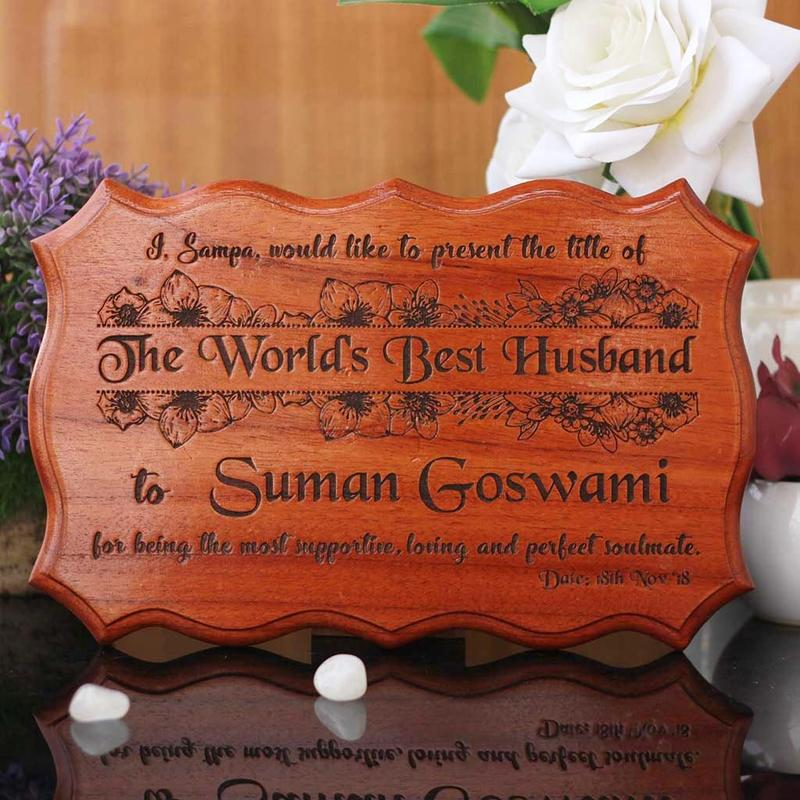 The World's Best Husband Certificate - Valentine's Day Gifts For Husband - Unique Gift Ideas - Engraved Wooden Certificate - Personlized Gift Items - Wooden Products Online - Valentine's Day Presents - Woodgeek - Woodgeekstore