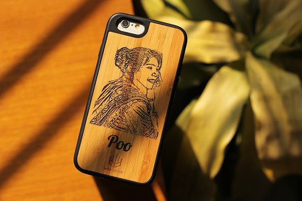 A photo and name engraved iPhone case  - Woodgeek Store
