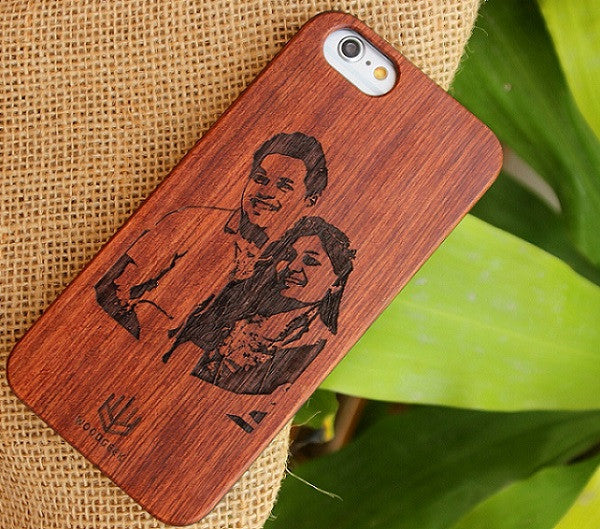 Wood engraved photo iPhone case - Woodgeek