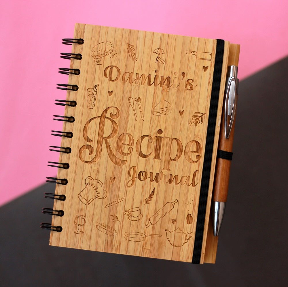 Custom Recipe Journal - A Cooking Notebook to jot down recipes - Wooden Notebook Custom engraved with a name