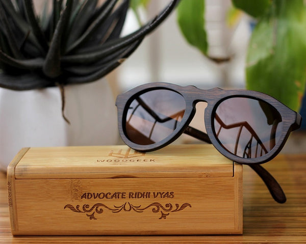 The Retro Round Sunglasses - Wooden Personalised Sunglasses - Woodgeek Store