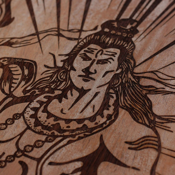 Lord Shiva - Hindu God - Wooden Frame - Unique Gifts - Wooden Poster - Shiva Engraved Poster - Woodgeek - Woodgeekstore