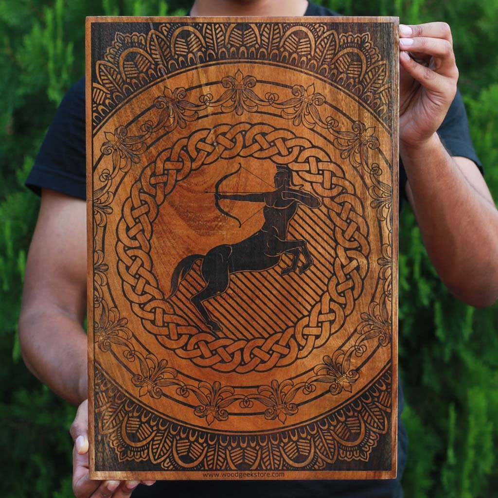 Sagittarius Zodiac Wooden Poster - Carved Wooden Poster - Zodiac Art poster - Sagittarius Sun sign - Sagittarius Zodiac Sign - Zodiac gifts and collectible -  Zodiac Themed Gifts - Gifts for Sagittarius - Sagittarius Wooden Poster - Zodiac Sign Wood Art - Zodiac Poster - Gifts for friends - Star Signs - Gift ideas - Birthday gifts for friends  - Zodiac Poster Wooden gift - Wooden engraved gifts - wood carved gifts -  woodgeekstore