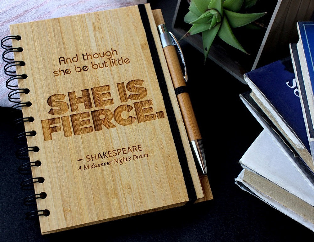She is fierce - Personalized bamboo wood notebook for women - Woodgeek Store