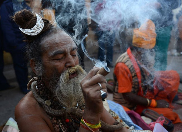 Lord Shiva smoking weed - Cannabis Smoking God - Marijuana - Mahadeva Smoking Ganja - Woodgeek - Woodgeekstore