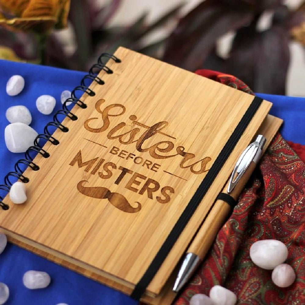 Sisters Before Misters Wooden Journal Notebook - Birthday Gifts for Female Friends - Woodgeek Store