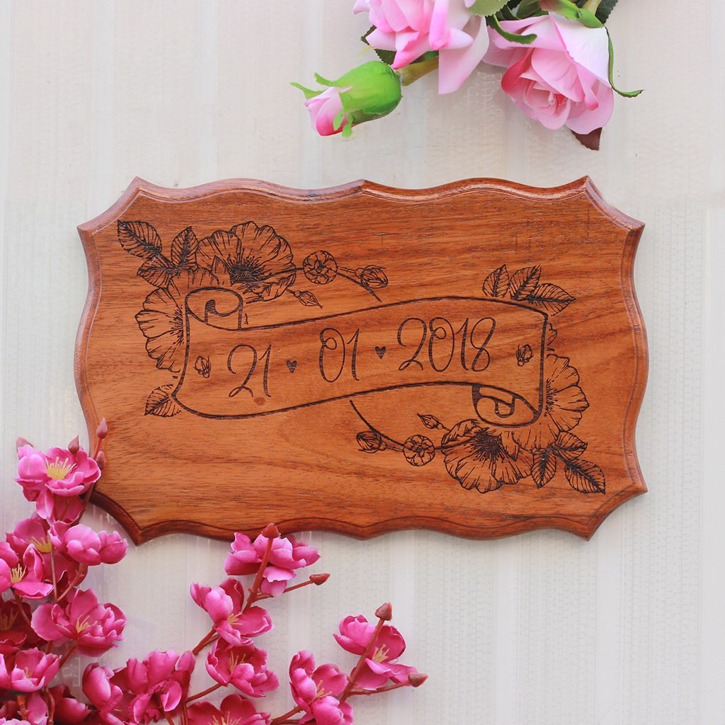 Wedding Date Sign - Important Date Wooden Sign by Woodgeek Store