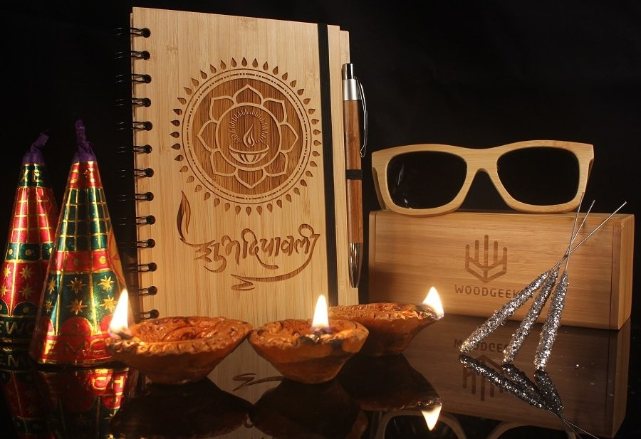 Subh deepavali happy diwali custom engraved wooden notebook diwali gift for husband wife friends corporate gift