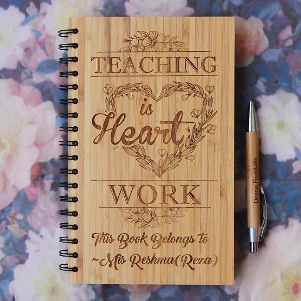 Teaching Is Heart Work Personalized Wooden Journal. This Custom Spiral Notebook Is An Unique Gift For Teachers. Buy More Personlized Gifts For Teachers Online From The Woodgeek Store.