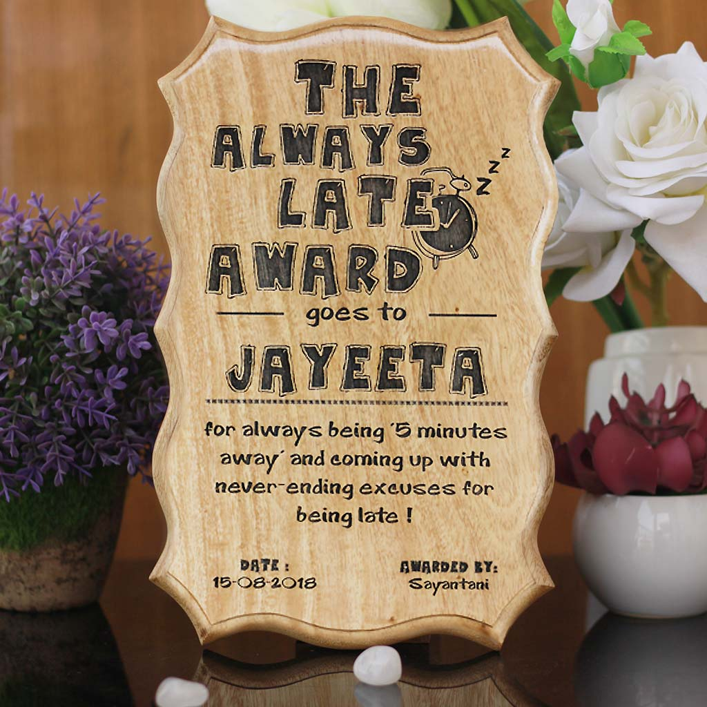 Gifts for Brothers - Gifts for Sisters - Rakhi Gifts - Personalised Gifts - Funny Recognition Awards & Certificates - The Always Late Award - Woodgeek Store