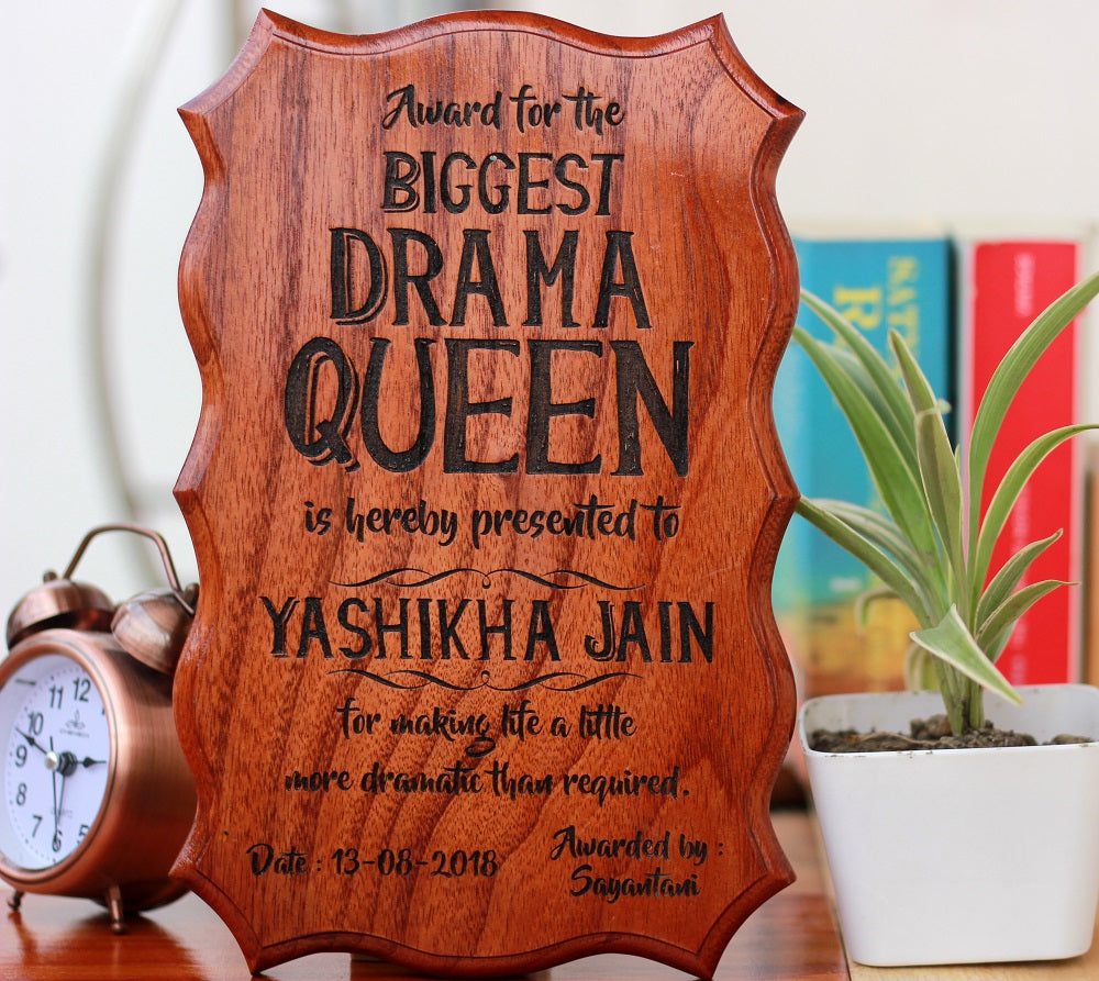 Gifts for Brothers - Gifts for Sisters - Rakhi Gifts - Personalised Gifts - Custom Certificates - Biggest Drama Queen Award - Woodgeek Store