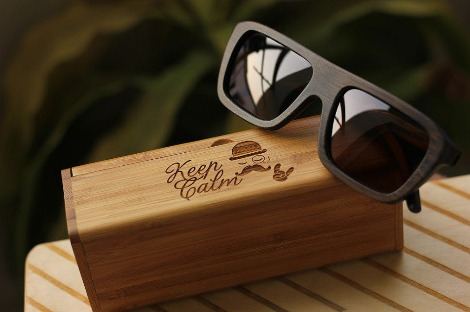 The Biker Rectangle Sunglasses - Wooden Personalised Sunglasses - Woodgeek Store