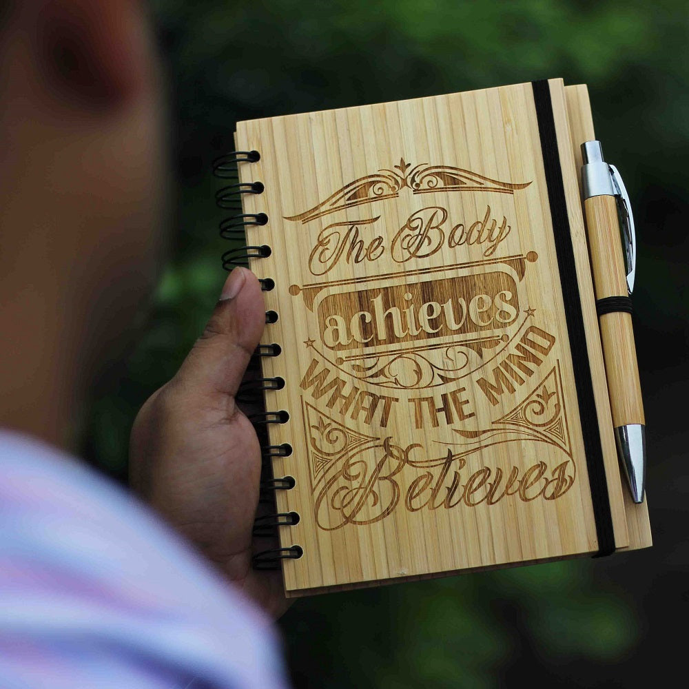 The Body Achieves What The Mind Believes - Fitness Journal - Workout Log Book - Exercise Journal - Food and Fitness Journal - Fitness Log - Diet and Food Journal - Best Workout Journal - Exercise Log book - Gym Journal - Fitness Notebook - Wooden Notebook - Personalized Notebook - Bamboo Journal - Woodgeek Store