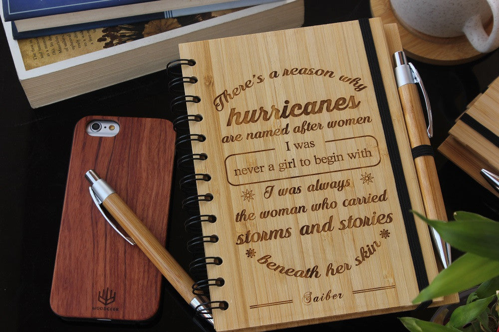There is a reason hurricanes are named after women bamboo wood notebook - Woodgeek Store