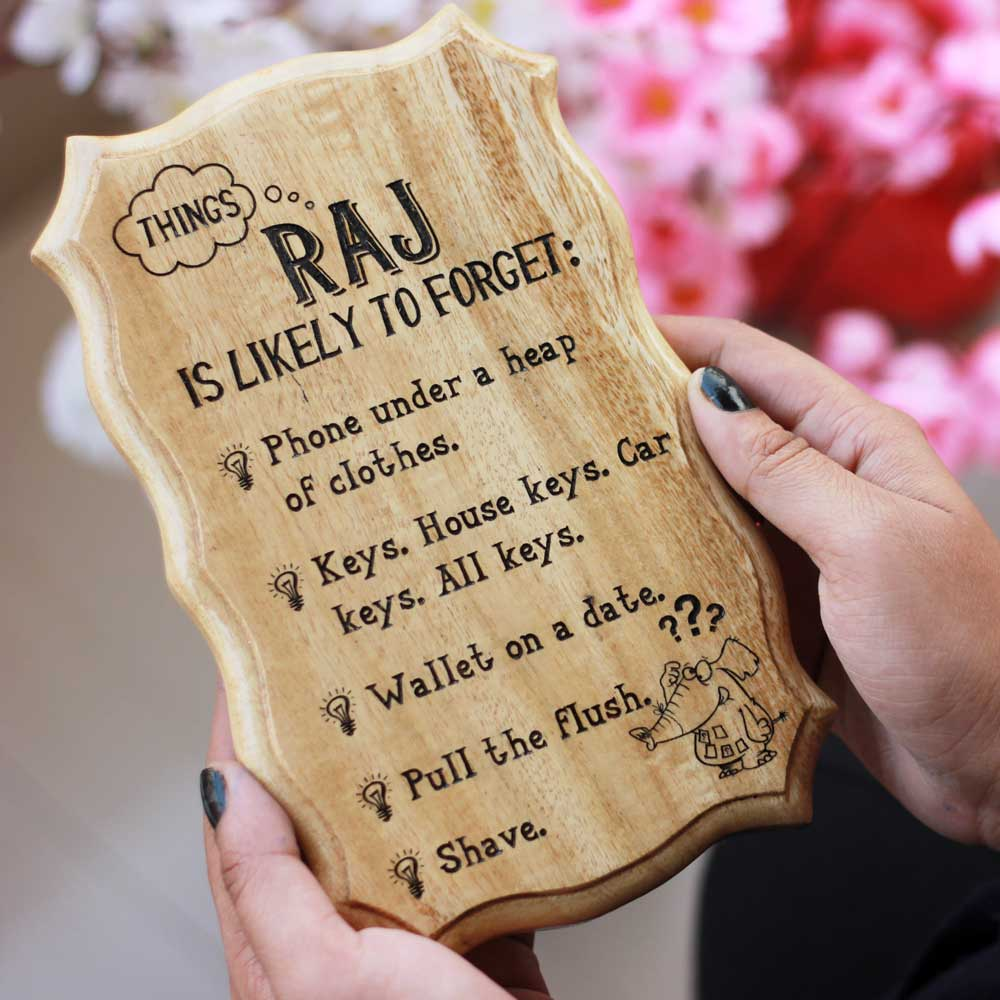 Things You Are Likely To Forget Wood Engraved Sign - what to give someone who loses everything - most likely to forget gifts - Personalized Wood Signs - Wooden Wall Signs - Custom wood engraving gifts - Gifts for friends - Gifts for family - wooden plaques - Woodgeek Store