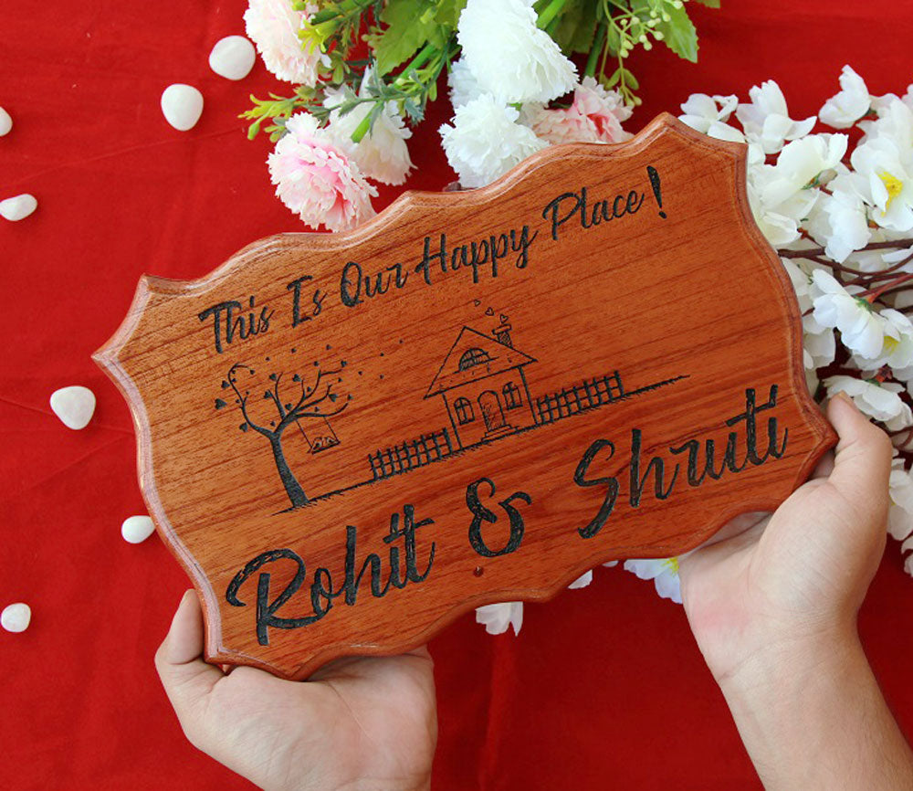 This is our happy place - Our Happy Place Wood Sign - This is our Happy Place wooden sign - House Name Plaque -  Home Sign - Woodgeek Store