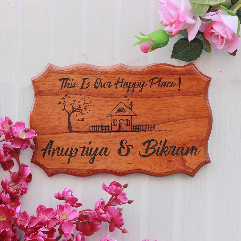 This Is Our Happy Place Wood Sign - Wooden Plaques - Personalized Wood Signs - Rustic Wood Signs - Wooden Family Sign - Engraved Wood Signs Outdoor - Small Wooden Items - Wooden Home Decor - Gifts For Newly-Weds - Woodgeek Store