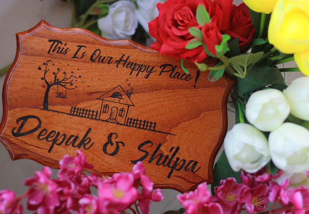 Wooden Nameplates for Home - Wooden Door Sign - This is Our Happy Place Wood Sign by Woodgeek Store