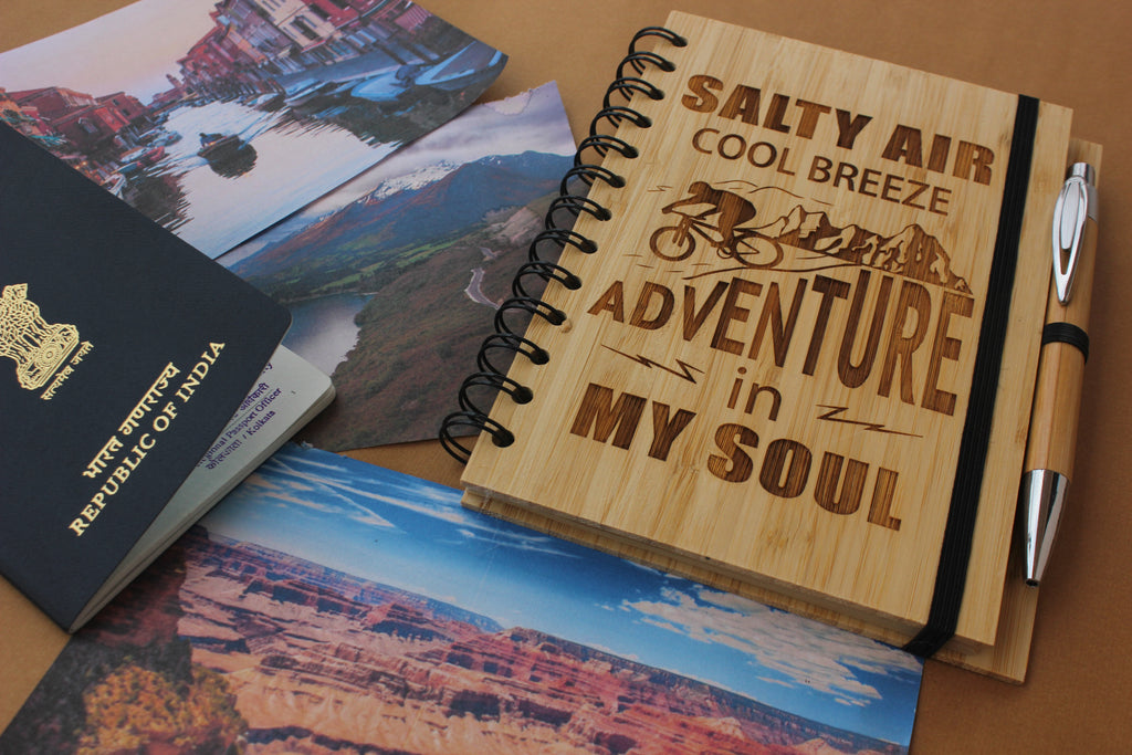Custom engraved Travel Journal - Woodgeek Store