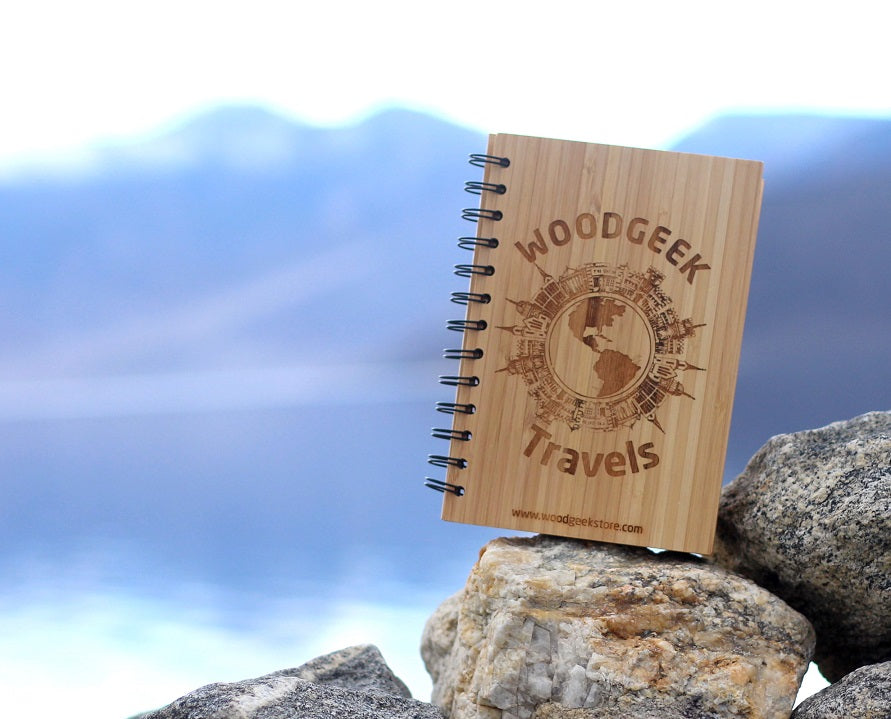 Customized Travel Journal - Bamboo Wood Notebook by Woodgeek Store