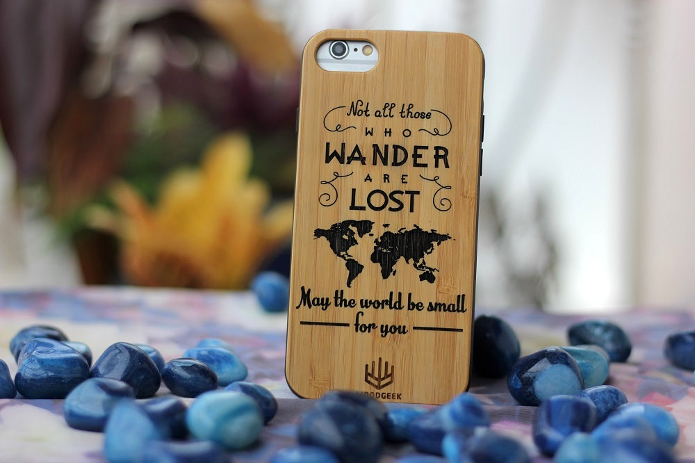 Not all those who wanders are lost wood engraved phone case - travel related gifts - iPhone wood case - best phone cases - wooden gifts - birthday present ideas - unique birthday gifts - bamboo Wood case - best iphone cases - wood casing for iPhone - best gifts for travelers -  - woodgeekstore