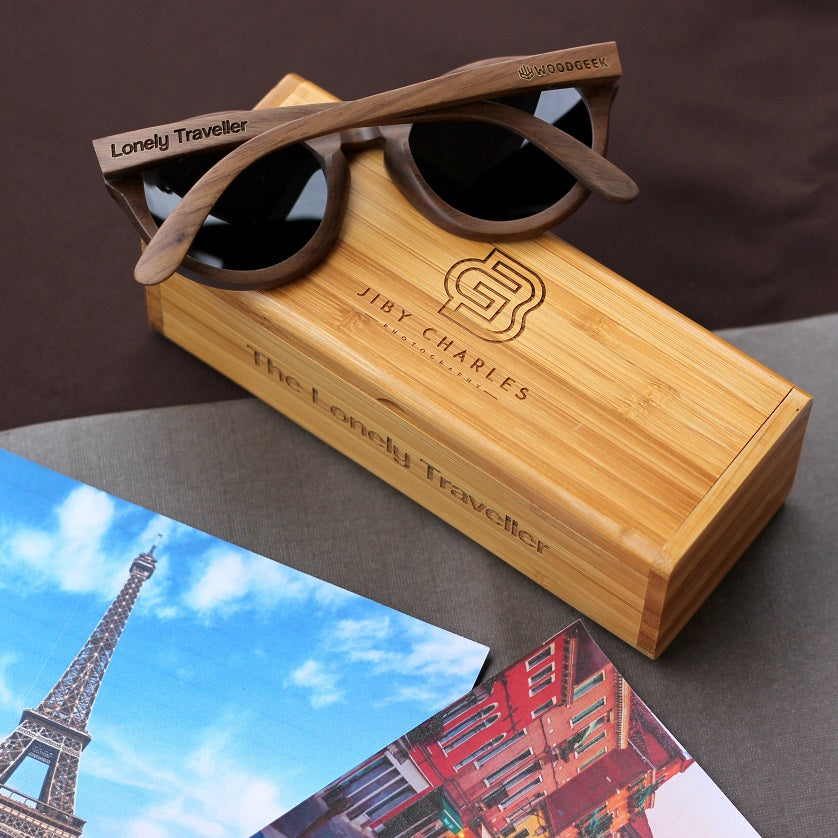 Customized Travel Sunglasses - Wooden Hipster Sunglasses from Woodgeek Store Engraved With Name