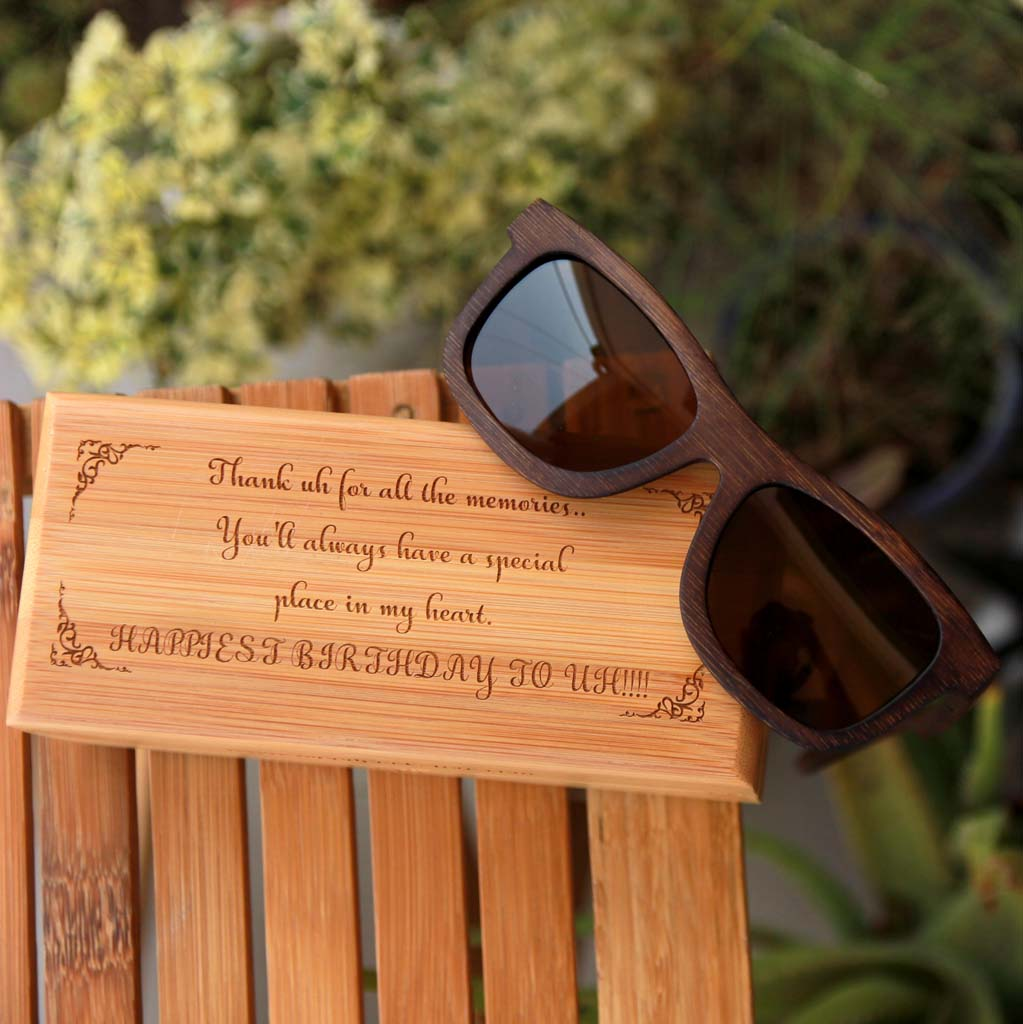 Personalised Happy Birthday Wooden Sunglasses With Box. This Polarised Sunglasses Is One Of The Best Birthday Gifts For Men. This Custom Sunglasses Is One Of The Birthday Gifts For Men. Birthday Gifts For Him. Looking For Birthday Gift Ideas For Boyfriend? This Personalised Sunglasses With A Customised Wooden Box Is A Great Birthday Gift For Boyfriend. These Wooden Sunglasses Make The Best Birthday Gifts For Men. This Makes Unique Birthday Gifts For Him.