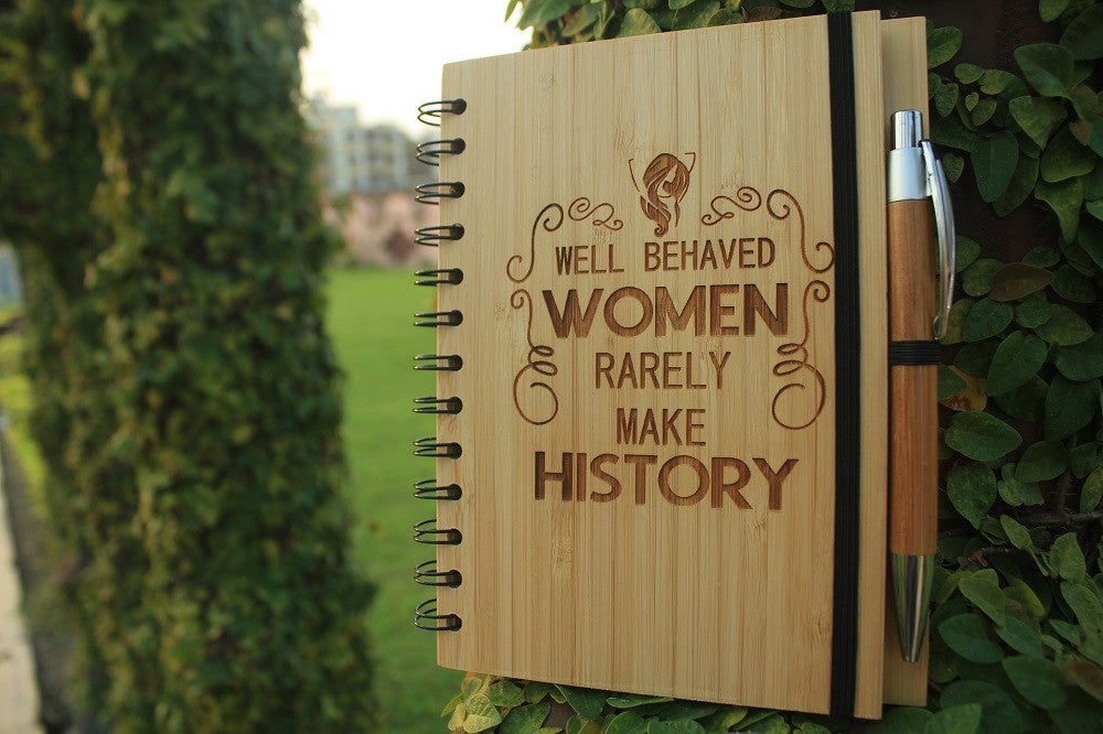 Well behaved women - Personalized bamboo wood notebook for women - Woodgeek Store