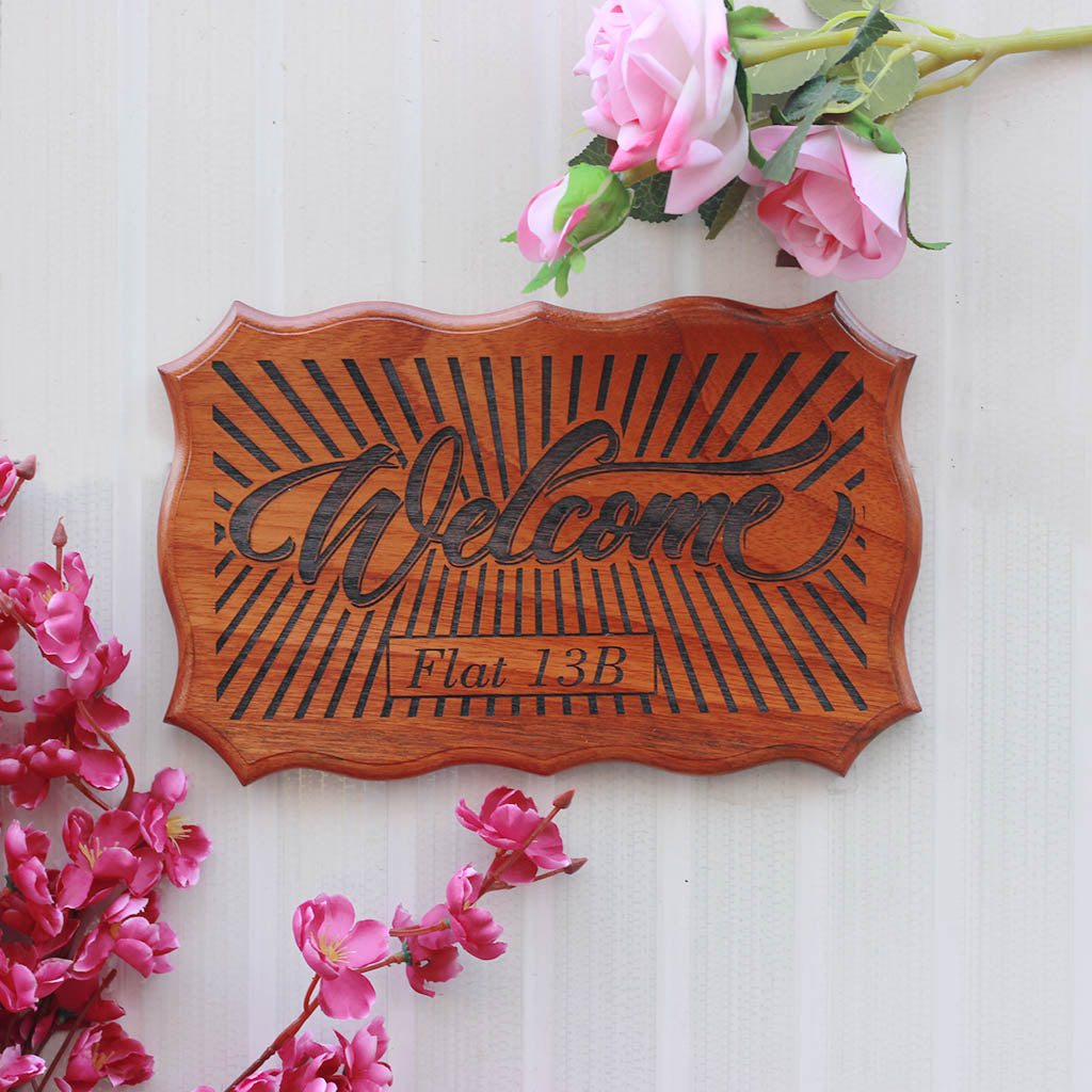 Wooden Nameplates for Home - Wooden Door Sign - Welcome To Our Home Wood Sign by Woodgeek Store