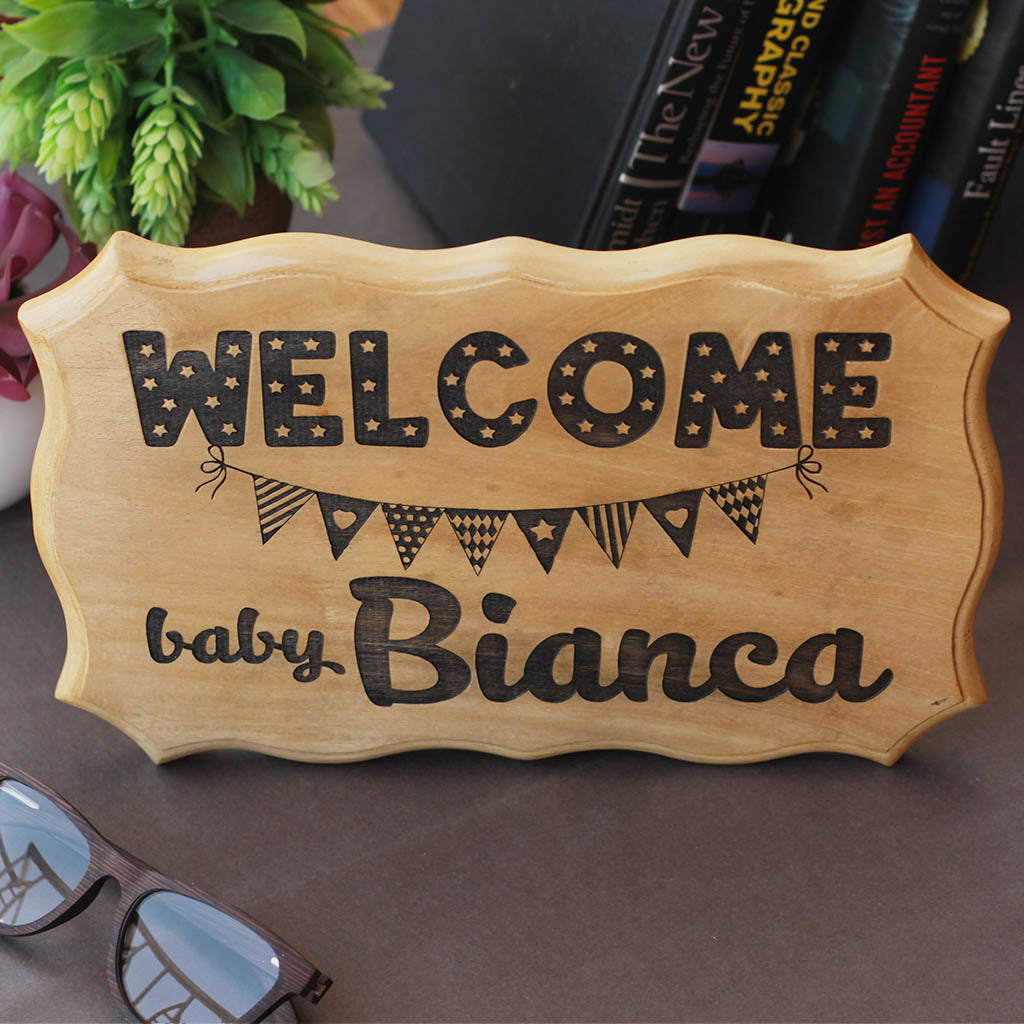 Welcome Baby Sign - Gifts for Baby Shower & New Born babies - Nursery Decor - Baby Room Sign - Wooden Signs - Home Decor - Woodgeek Store
