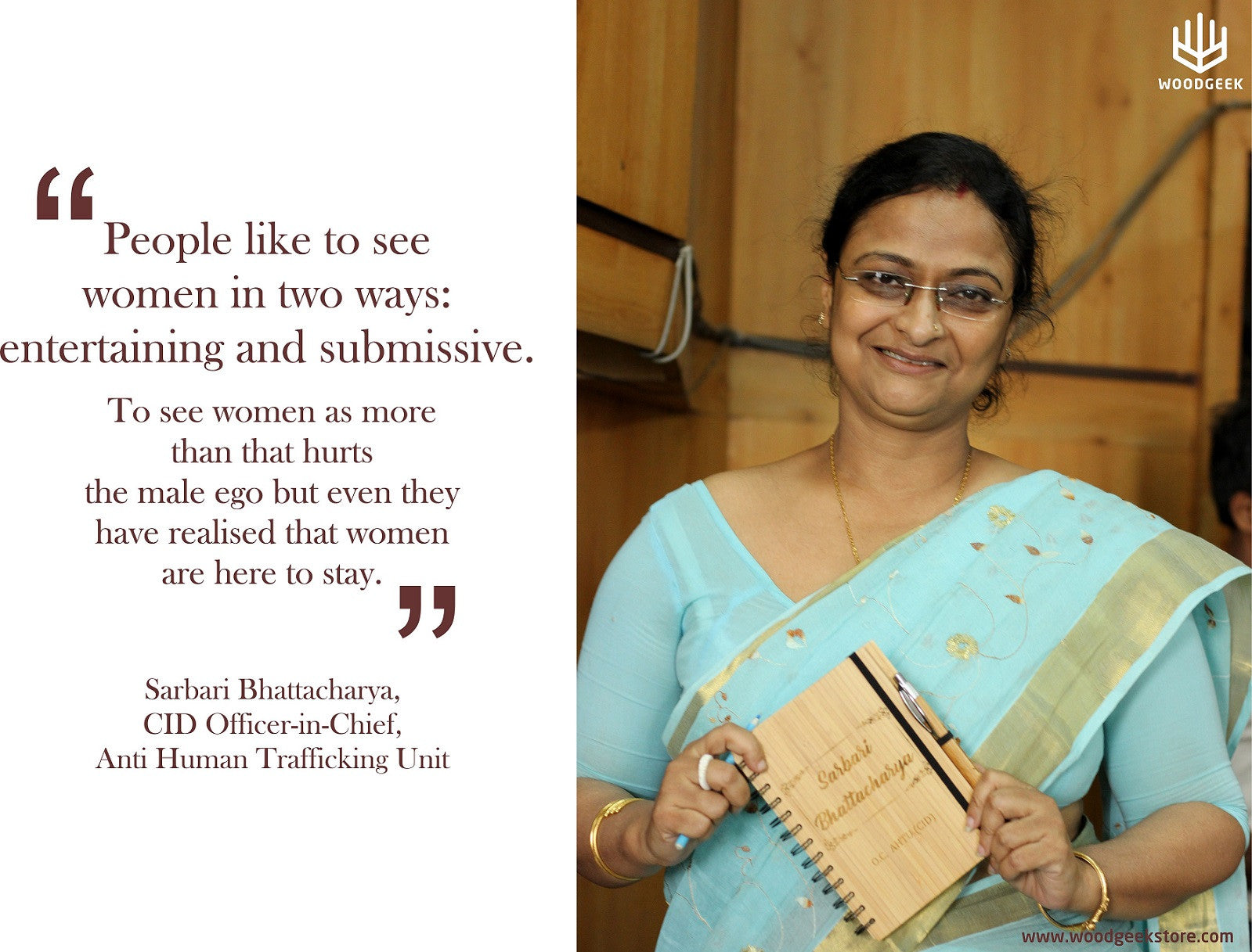 Sarbari Bhattacharya - Woman Police Officer - Celebrating the spirit of woman - Woodgeek Store
