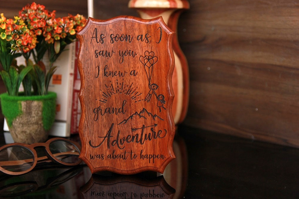 As soon as I saw you I knew a grand adventure was about to happen Wood sign - wooden wall signs - sagittarius gift ideas - personalized wood signs - rustic wood signs - wood carved signs - birthday present - wooden gifts - small wooden signs - wooden plaques with sayings - best birthday gifts - woodgeekstore