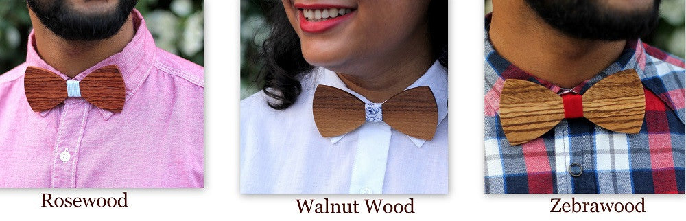 Wooden Bow ties made of different types of wood personalized with name or initial s or any other text - Woodgeek Store
