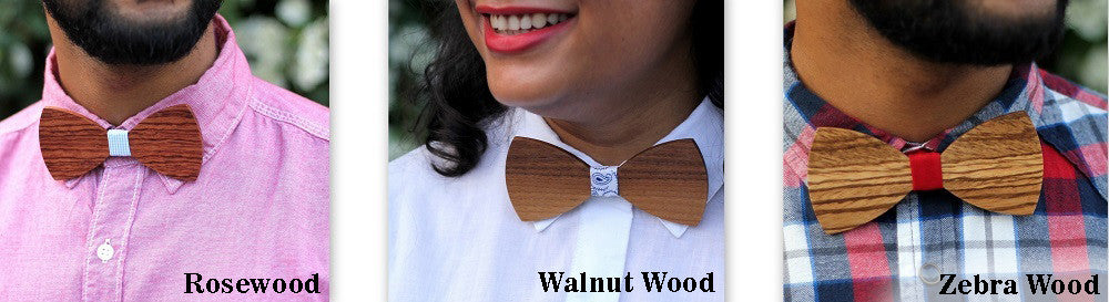 Wooden Bow Ties made from different types of wood - Woodgeek Store